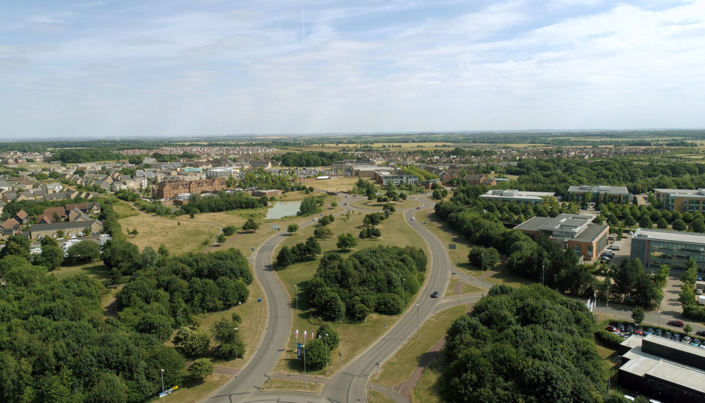 Cambourne entrance drone image